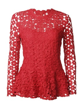 Lace Hollow Slim Zip Up Womens Blouse