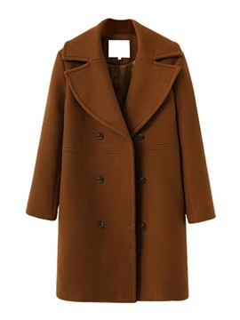 Double Breasted Wool Blends Womens Overcoat