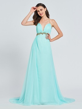 A Line Halter Beaded Pleats Prom Dress
