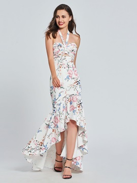 Mermaid Halter Printed Ruffles Prom Dress