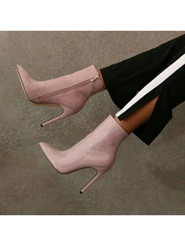 Side Zipper Pointed Toe Stiletto Heel Ankle Boots