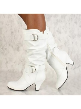 Pu Plain Side Zipper Chunky Heel Womens Boots