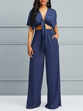 Wrapped Cropped Top And Wide Legs Pants Womens Suit