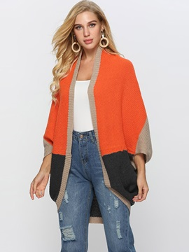 Color Block Batwing Sleeve Loose Womens Knitted Cape