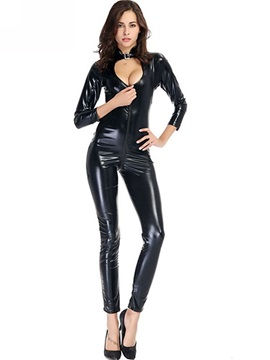 Zipper Long Sleeve Patent Leather Teddy