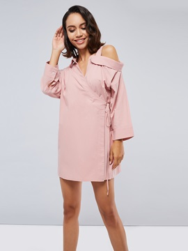 One Shoulder Lace Up Womens Day Dress