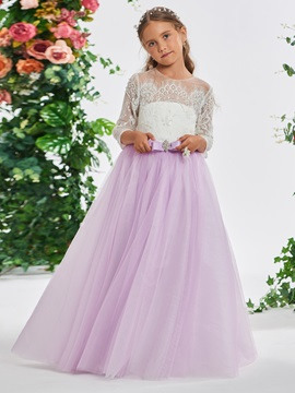 Beaded Lace 3 4 Length Sleeves Girls Party Dress