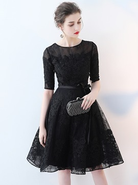 A Line Lace Appliques Scoop Homecoming Dress