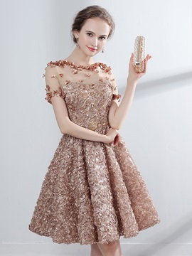 A Line Appliques Flowers Lace Homecoming Dress