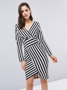 Long Sleeve Striped Womens Bodycon Dress