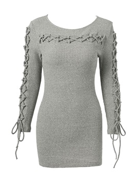 Long Sleeve Cotton Lace Up Womens Sweater Dress