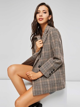 Ol Gingham Plaid Double Breasted Womens Blazer