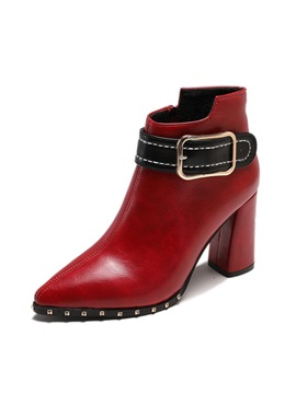 Rivet Pointed Toe Chunky Heel Womens Ankle Boots