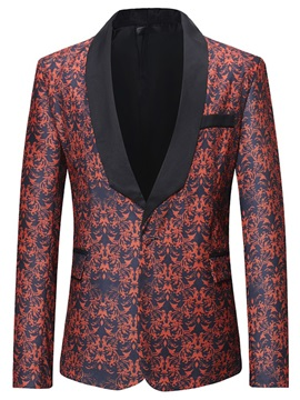 Red Floral One Button Mens Fashion Blazer