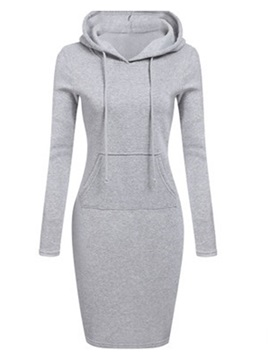 Hooded Pocket Pullover Womens Bodycon Dress
