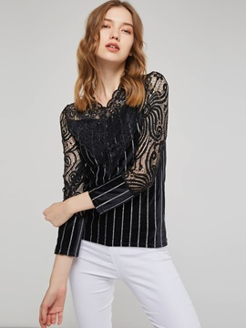 Stripe Lace Patchwork Slim Fit Womens T Shirt