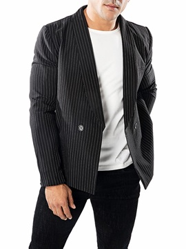 Stripe Simple Style Mens Casual Blazer
