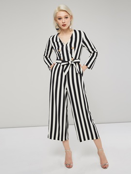 Ol V Neck Striped Long Sleeve Womens Jumpsuit