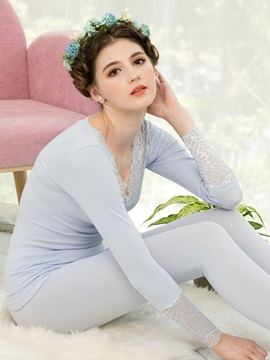 Plain Long Sleeve Full Length Thermal Underwear For Women