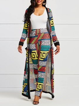Print Geometric Coat And Pants Womens Two Piece Set