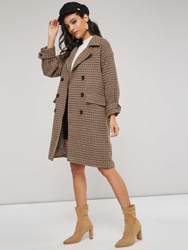 Double Breasted Plaid Print Double Pocket Womens Overcoat