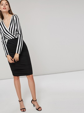 Long Sleeve Striped V Neck Womens Bodycon Dress