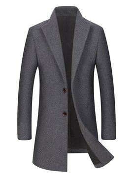 Plain Lapel Single Breasted Mens Wool Coat