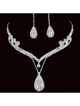 Water Drop Shape Rhinestone Wedding Jewelry Set