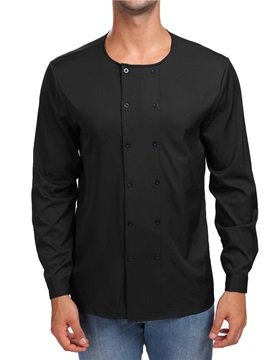 Double Breasted Plain Mens Round Neck Shirt