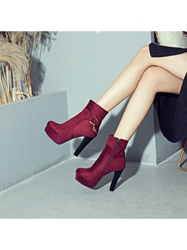 Side Zipper Round Toe Chunky Heel Womens Ankle Boots