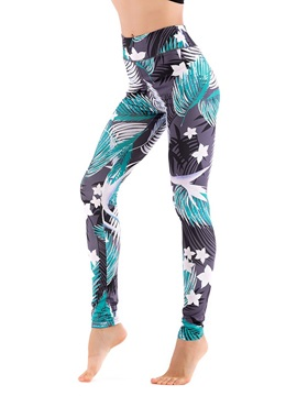 Leaf Print Vacation Style Thin Womens Casual Leggings