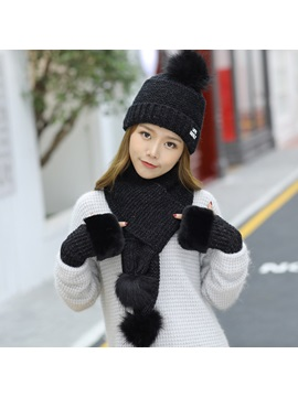 Pompon Design Warmth Knitted 3 Piece Set Including Hat Scarf And Gloves