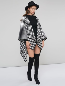 Batwing Sleeve Houndstooth Mid Length Womens Cape Coat