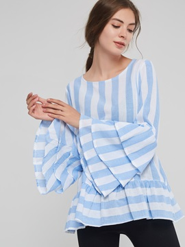 Ruffle Long Sleeve Striped Loose Womens Blouse