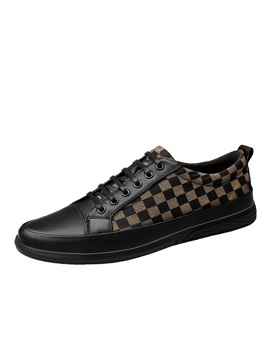 Plaid Lace Up Low Cut Upper Mens Casual Shoes
