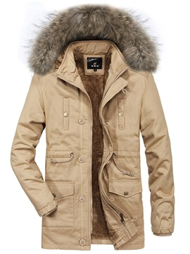 Plain Thick Fur Hooded Mens Winter Coat