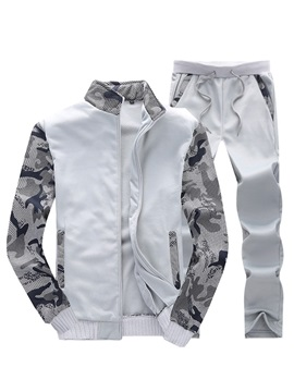 Camo Patchwork Casual Mens Sports Suit