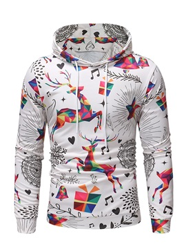 Hooded Animal Geometric Mens Pullover Hoodie
