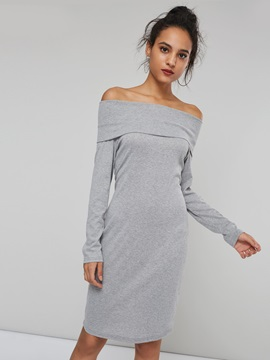 Off Shoulder Long Sleeve Womens Sweater Dress