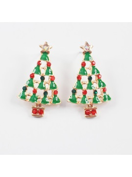 christmas tree shape oil drip christmas gift earrings