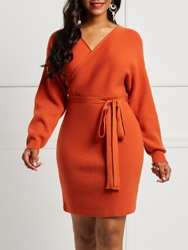 Rust Red Acrylic V Neck Womens Sweater Bodycon Dress
