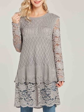 Scoop Lace Patchwork Slim Pullover Womens Sweater