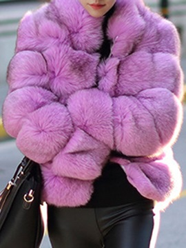 Luxury Pure Color Faux Fur Thick Womens Overcoat