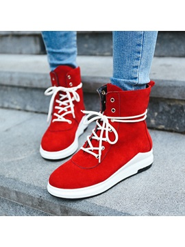 Plain Round Toe Lace Up Womens Boots