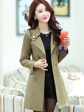Mid Length Double Breasted Womens Trench Coat