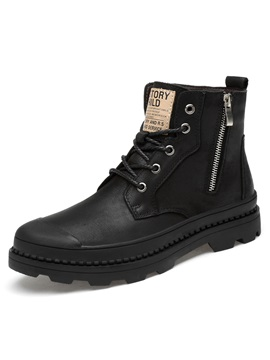 Plain Round Toe Side Zipper Mens Boots