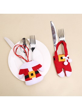 Santa Suit Set Christmas Dinner Holders Knife And Fork Bags