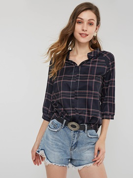 Plaid Three Quarter Sleeve Fall Womens Blouse