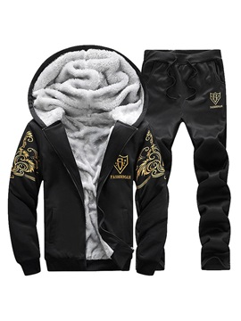 Fleece Hooded Jacket Pants Winter Mens Sports Suit