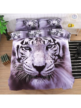 White Tiger Printed Cotton 4 Piece Bedding Sets Duvet Covers